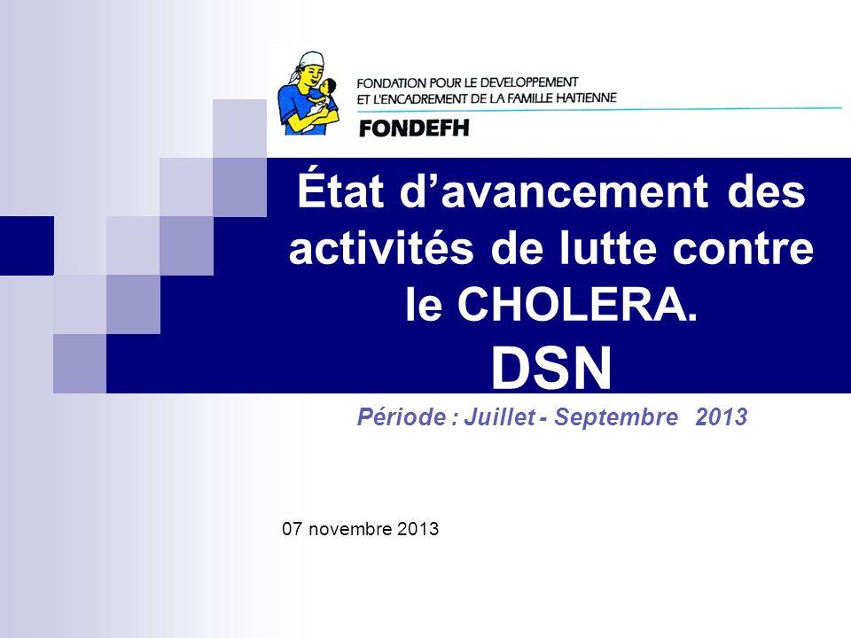 État davancement des activités de lutte contre le CHOLERA. DSN Période : Juillet - Septembre 2013 Nom de l'organisation 07 novembre 2013