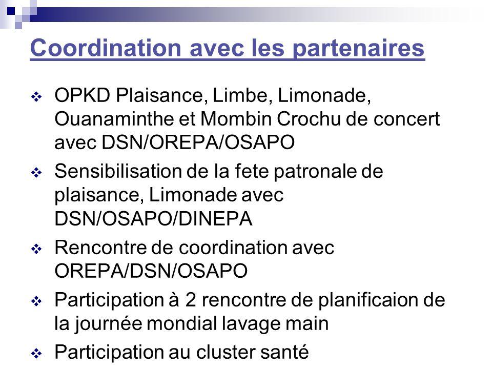 Coordination avec les partenaires OPKD Plaisance, Limbe, Limonade, Ouanaminthe et Mombin Crochu de concert avec DSN/OREPA/OSAPO Sensibilisation de la fete patronale de plaisance, Limonade avec DSN/OSAPO/DINEPA Rencontre de coordination avec OREPA/DSN/OSAPO Participation à 2 rencontre de planificaion de la journée mondial lavage main Participation au cluster santé