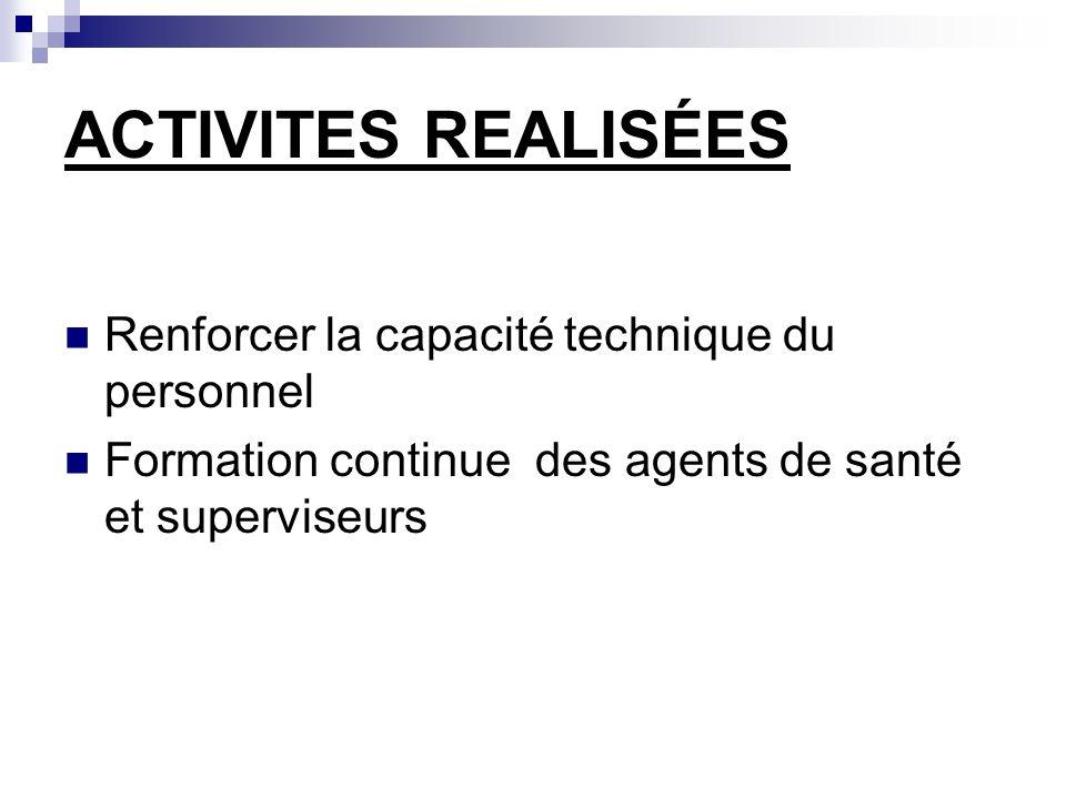ACTIVITES REALISÉES Renforcer la capacité technique du personnel Formation continue des agents de santé et superviseurs