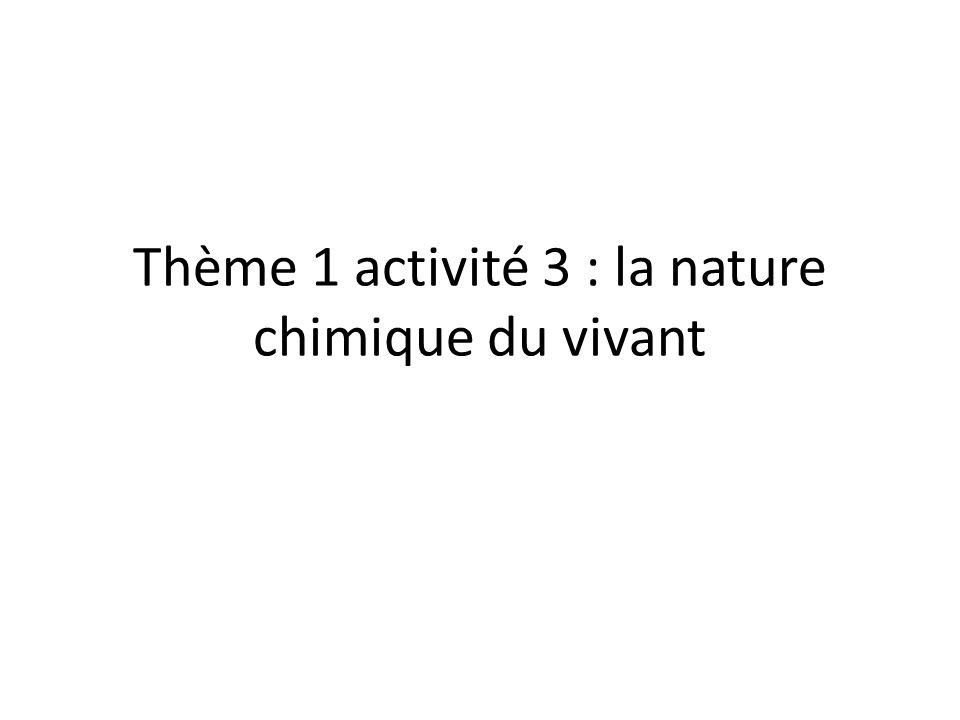 Thème 1 activité 3 : la nature chimique du vivant
