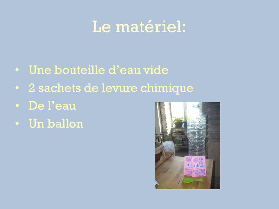 Le matériel: Une bouteille deau vide 2 sachets de levure chimique De leau Un ballon
