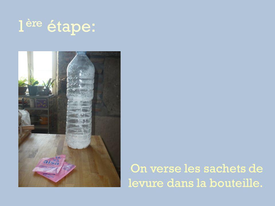 1 ère étape: On verse les sachets de levure dans la bouteille.
