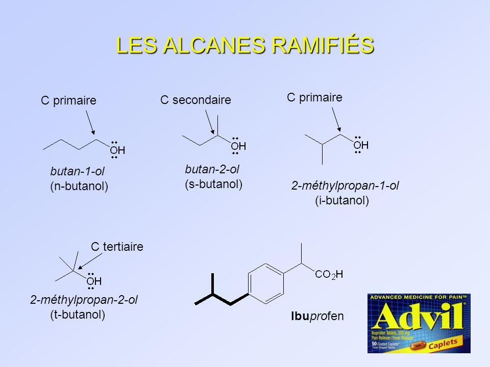 LES ALCANES RAMIFIÉS butan-1-ol (n-butanol) C primaire butan-2-ol (s-butanol) C secondaire C primaire 2-méthylpropan-1-ol (i-butanol) 2-méthylpropan-2