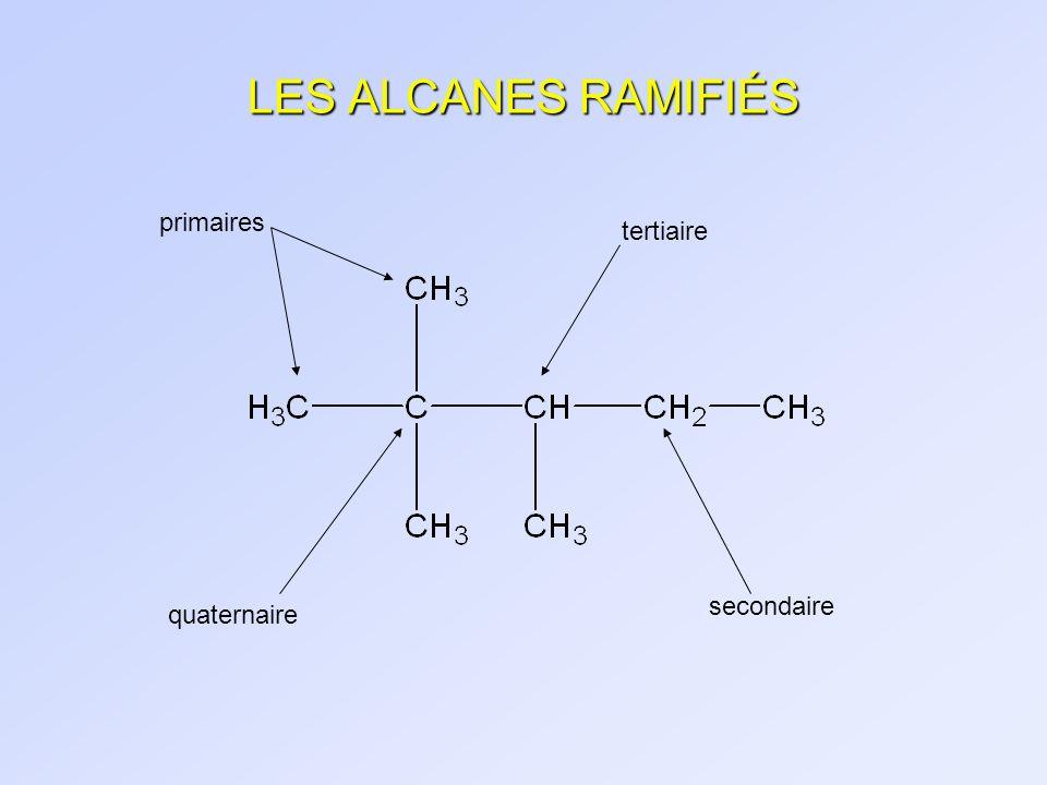 LES ALCANES RAMIFIÉS primaires quaternaire tertiaire secondaire
