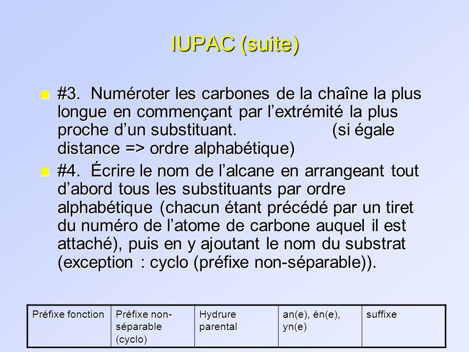 IUPAC (suite) n #3. Numéroter les carbones de la chaîne la plus longue en commençant par lextrémité la plus proche dun substituant. (si égale distance