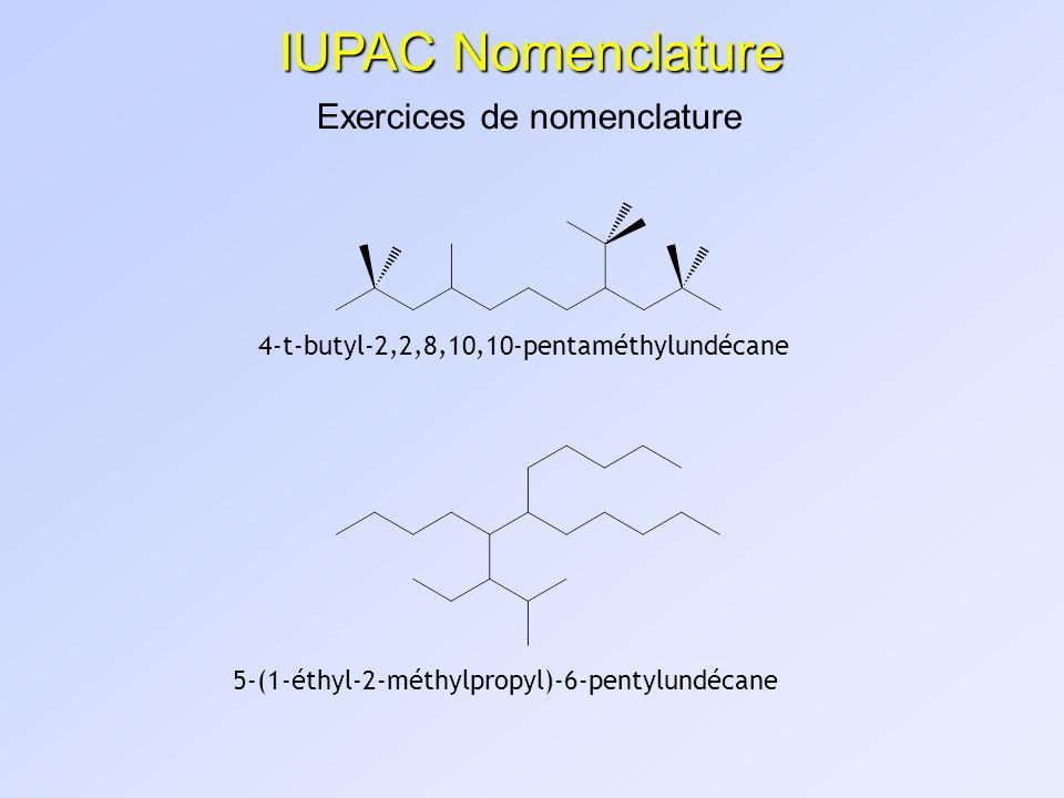 IUPAC Nomenclature Exercices de nomenclature 4-t-butyl-2,2,8,10,10-pentaméthylundécane 5-(1-éthyl-2-méthylpropyl)-6-pentylundécane