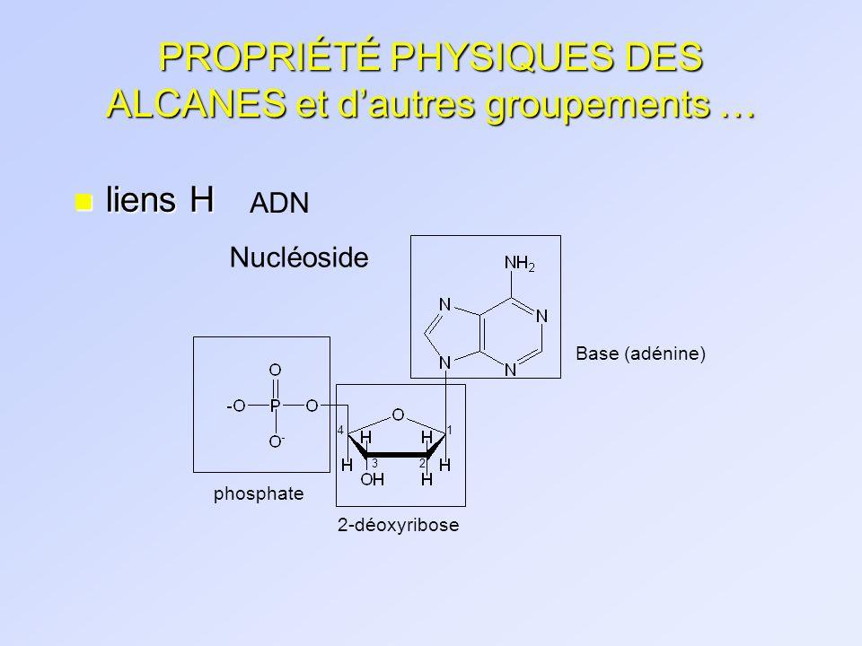 PROPRIÉTÉ PHYSIQUES DES ALCANES et dautres groupements … n liens H ADN Nucléoside phosphate 2-déoxyribose 1 23 4 Base (adénine)