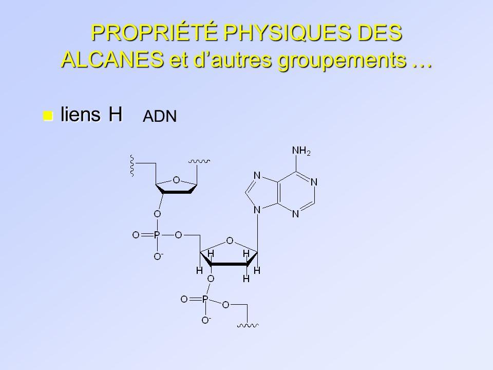PROPRIÉTÉ PHYSIQUES DES ALCANES et dautres groupements … n liens H ADN