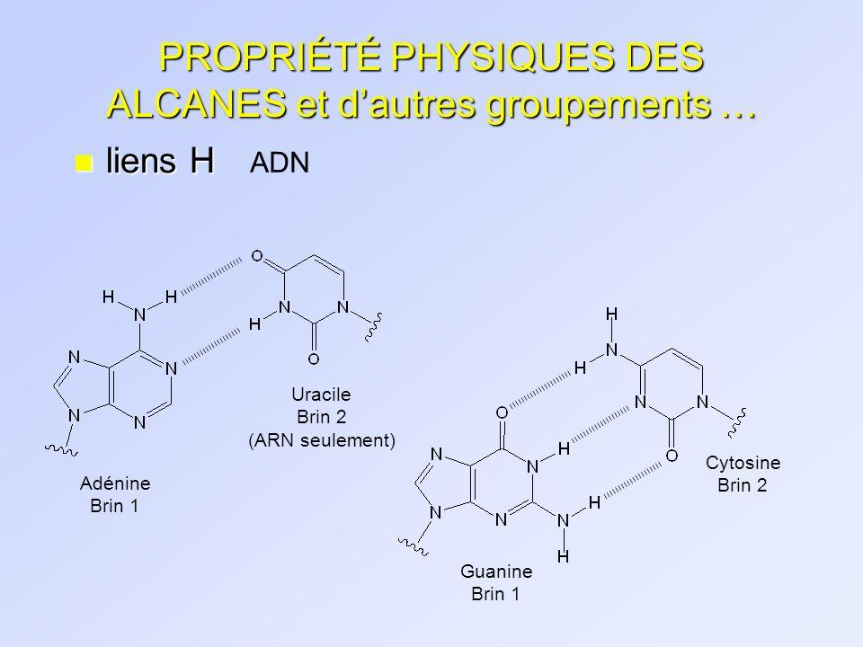 PROPRIÉTÉ PHYSIQUES DES ALCANES et dautres groupements … n liens H ADN Adénine Brin 1 Uracile Brin 2 (ARN seulement) Guanine Brin 1 Cytosine Brin 2