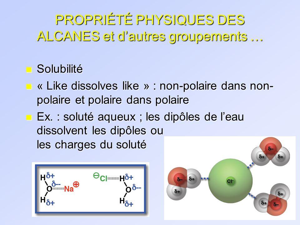 PROPRIÉTÉ PHYSIQUES DES ALCANES et dautres groupements … n Solubilité n « Like dissolves like » : non-polaire dans non- polaire et polaire dans polair