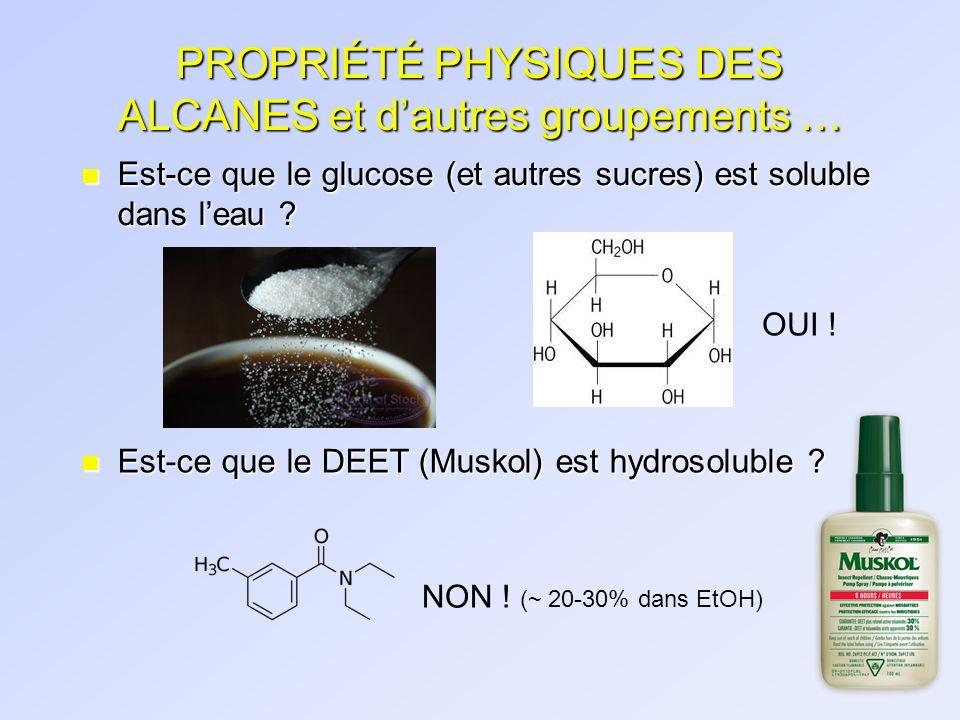 PROPRIÉTÉ PHYSIQUES DES ALCANES et dautres groupements … n Est-ce que le glucose (et autres sucres) est soluble dans leau ? n Est-ce que le DEET (Musk