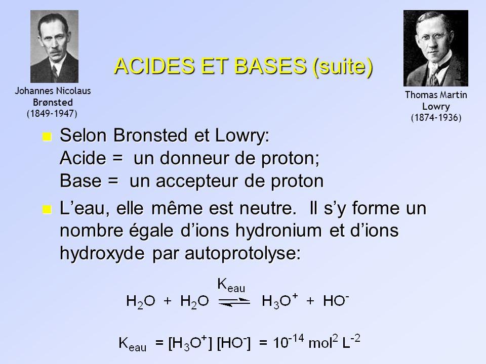 ACIDES ET BASES (suite) n Selon Bronsted et Lowry: Acide = un donneur de proton; Base = un accepteur de proton n Leau, elle même est neutre. Il sy for