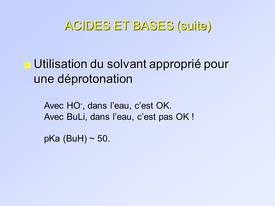 ACIDES ET BASES (suite) n Utilisation du solvant approprié pour une déprotonation Avec HO -, dans leau, cest OK. Avec BuLi, dans leau, cest pas OK ! p