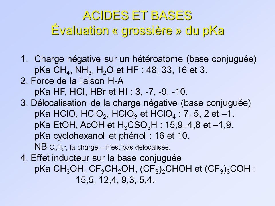 ACIDES ET BASES Évaluation « grossière » du pKa 1.Charge négative sur un hétéroatome (base conjuguée) pKa CH 4, NH 3, H 2 O et HF : 48, 33, 16 et 3. 2