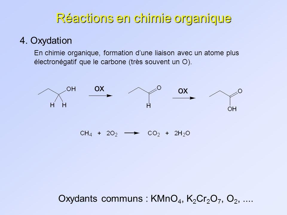 Réactions en chimie organique 4. Oxydation En chimie organique, formation dune liaison avec un atome plus électronégatif que le carbone (très souvent