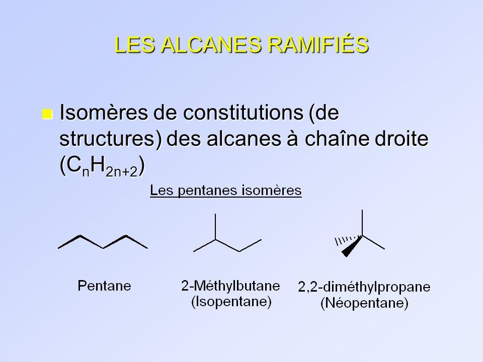 LES ALCANES RAMIFIÉS NomFormuleAbrév.Représentation n-propyle -CH 2 CH 2 CH 3 nPr (ou Pr) iso-propyle(i-propyle) -CH(CH 3 ) 2 iPr n-butyle -CH 2 CH 2 CH 2 CH 3 nBu (ou Bu) iso-butyle(i-butyle) -CH 2 CH(CH 3 ) 2 iBu sec-butyle(s-butyle) -CH(CH 3 )CH 2 CH 3 sBu tert-butyle(t-butyle) -C(CH 3 ) 3 tBu