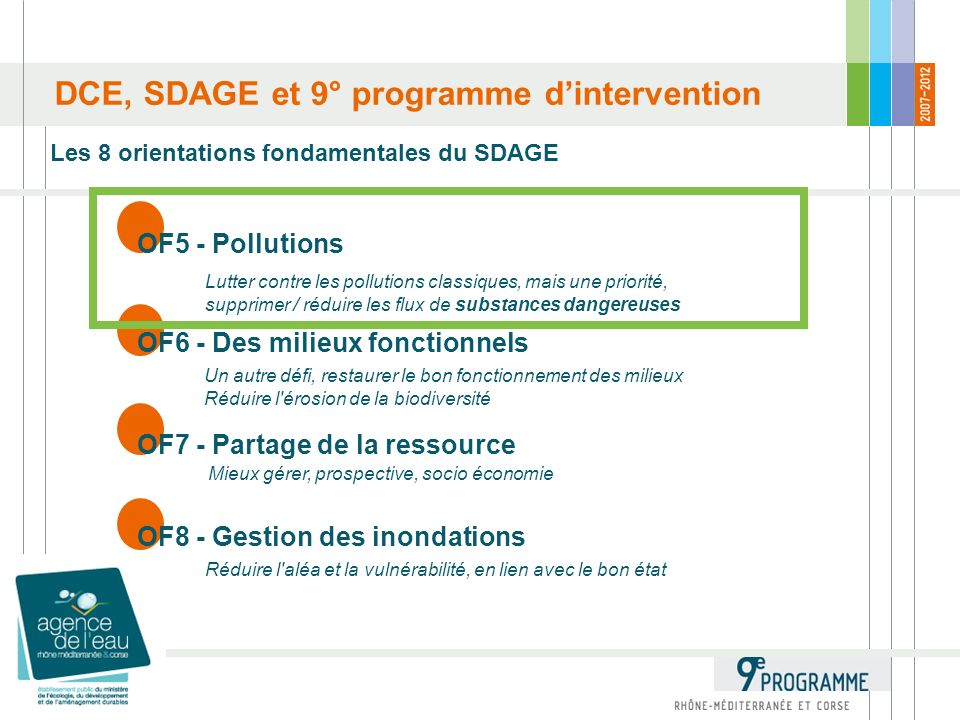DCE, SDAGE et 9° programme dintervention Les 8 orientations fondamentales du SDAGE OF5 - Pollutions Lutter contre les pollutions classiques, mais une