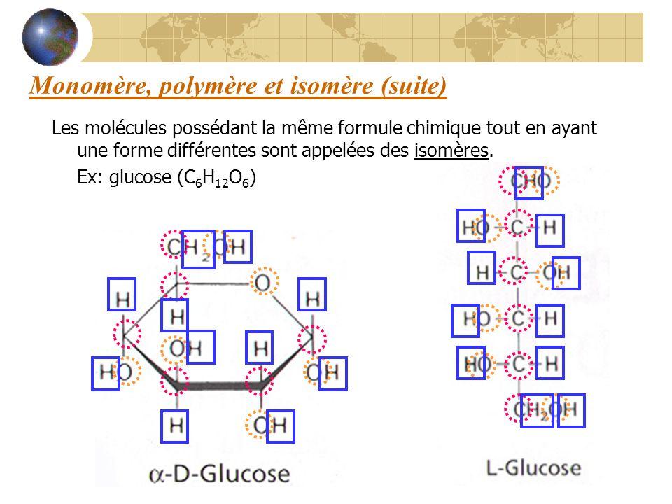 Monomère, polymère et isomère (suite) Les molécules possédant la même formule chimique tout en ayant une forme différentes sont appelées des isomères.