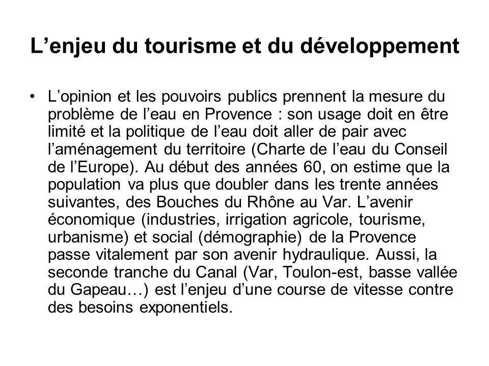 Lenjeu du tourisme et du développement Lopinion et les pouvoirs publics prennent la mesure du problème de leau en Provence : son usage doit en être li