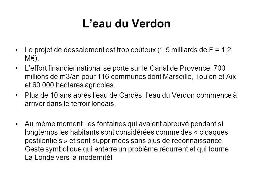 Leau du Verdon Le projet de dessalement est trop coûteux (1,5 milliards de F = 1,2 M). Leffort financier national se porte sur le Canal de Provence: 7