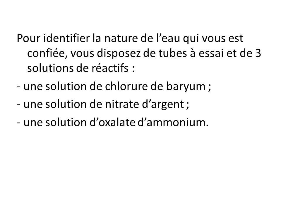 Pour identifier la nature de leau qui vous est confiée, vous disposez de tubes à essai et de 3 solutions de réactifs : - une solution de chlorure de b