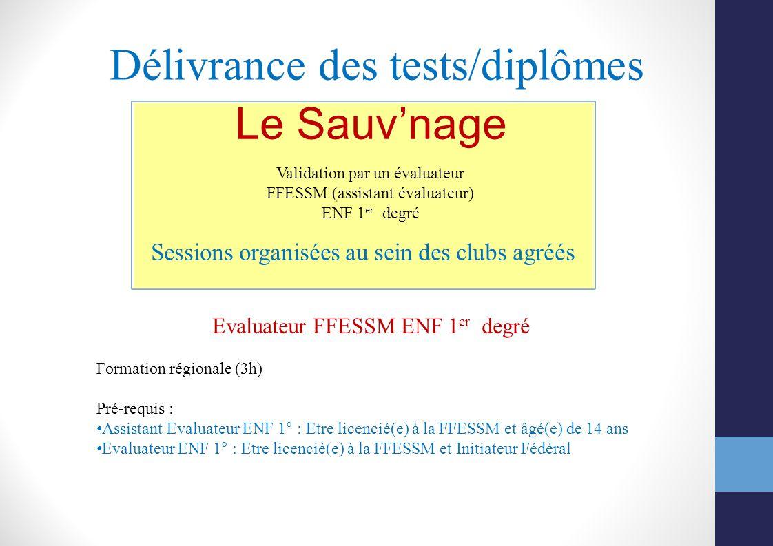 Délivrance des tests/diplômes Sessions organisées au sein des clubs agréés Le Sauvnage Validation par un évaluateur FFESSM (assistant évaluateur) ENF
