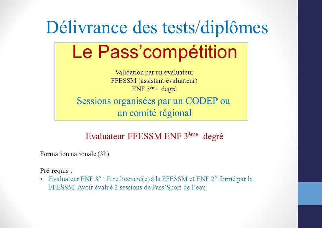 Délivrance des tests/diplômes Sessions organisées par un CODEP ou un comité régional Le Passcompétition Validation par un évaluateur FFESSM (assistant
