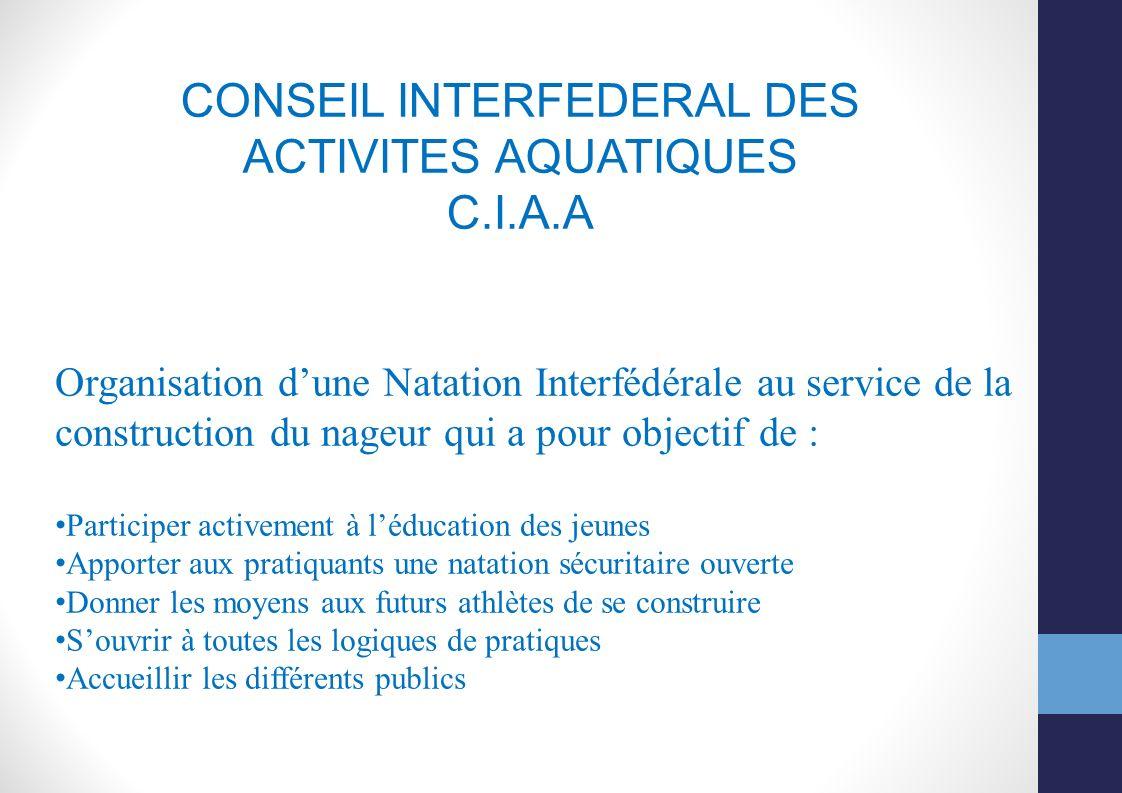 CONSEIL INTERFEDERAL DES ACTIVITES AQUATIQUES C.I.A.A Organisation dune Natation Interfédérale au service de la construction du nageur qui a pour obje