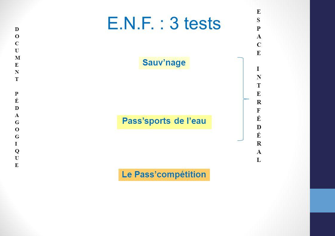 E.N.F. : 3 tests Sauvnage Passsports de leau Le Passcompétition
