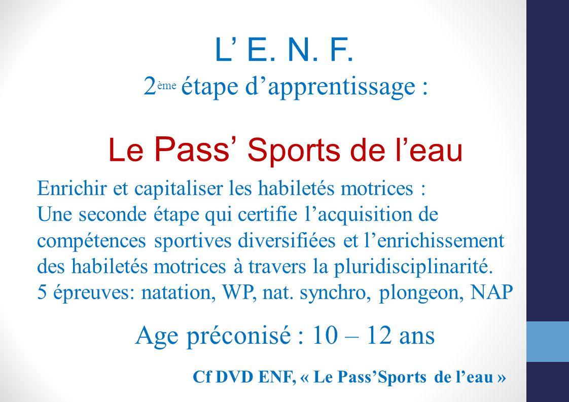 L E. N. F. 2 ème étape dapprentissage : Le Pass Sports de leau Enrichir et capitaliser les habiletés motrices : Une seconde étape qui certifie lacquis