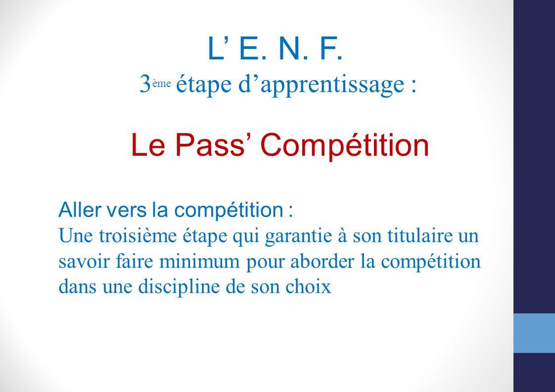 L E. N. F. 3 ème étape dapprentissage : Le Pass Compétition Aller vers la compétition : Une troisième étape qui garantie à son titulaire un savoir fai