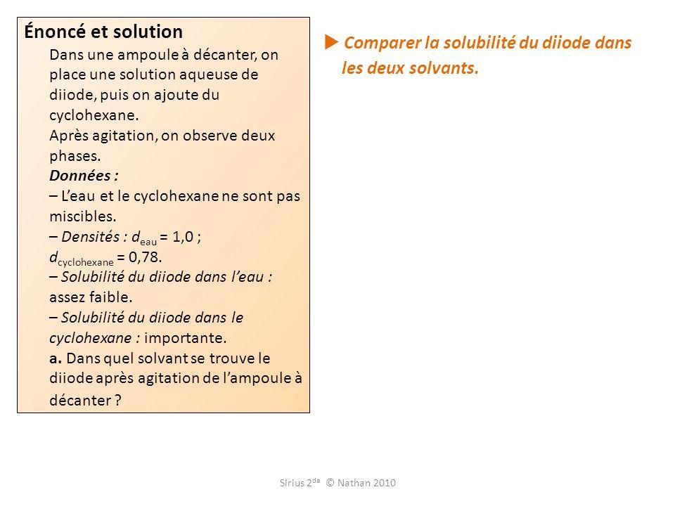 Comparer la solubilité du diiode dans les deux solvants. Énoncé et solution Dans une ampoule à décanter, on place une solution aqueuse de diiode, puis