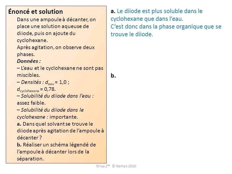 Énoncé et solution Dans une ampoule à décanter, on place une solution aqueuse de diiode, puis on ajoute du cyclohexane. Après agitation, on observe de