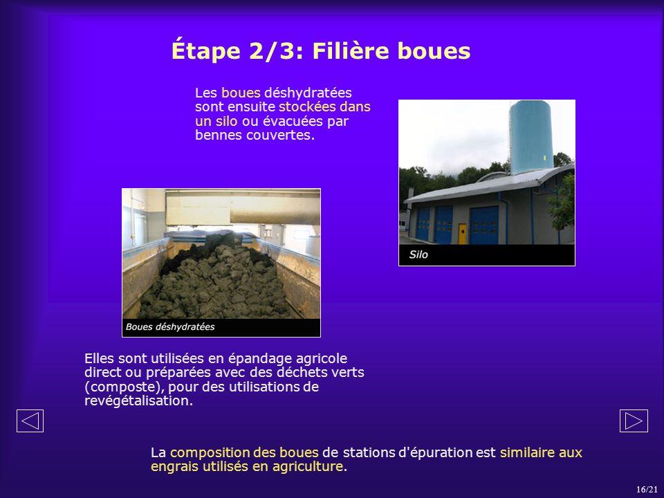 Les boues déshydratées sont ensuite stockées dans un silo ou évacuées par bennes couvertes. La composition des boues de stations d'épuration est simil