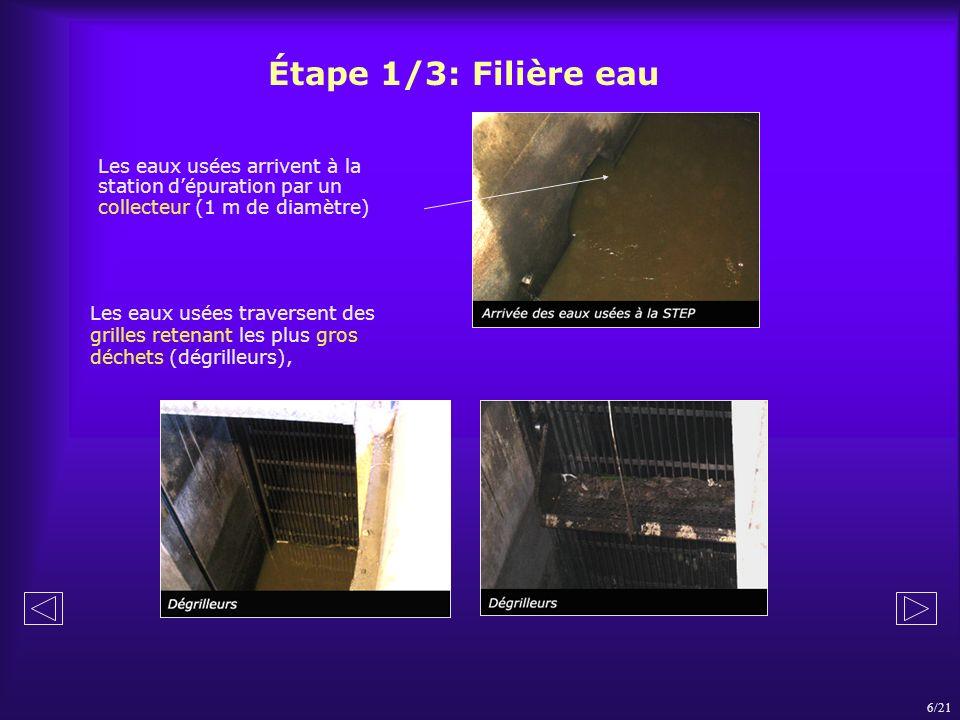 Étape 1/3: Filière eau 6/21 Les eaux usées traversent des grilles retenant les plus gros déchets (dégrilleurs), Les eaux usées arrivent à la station d