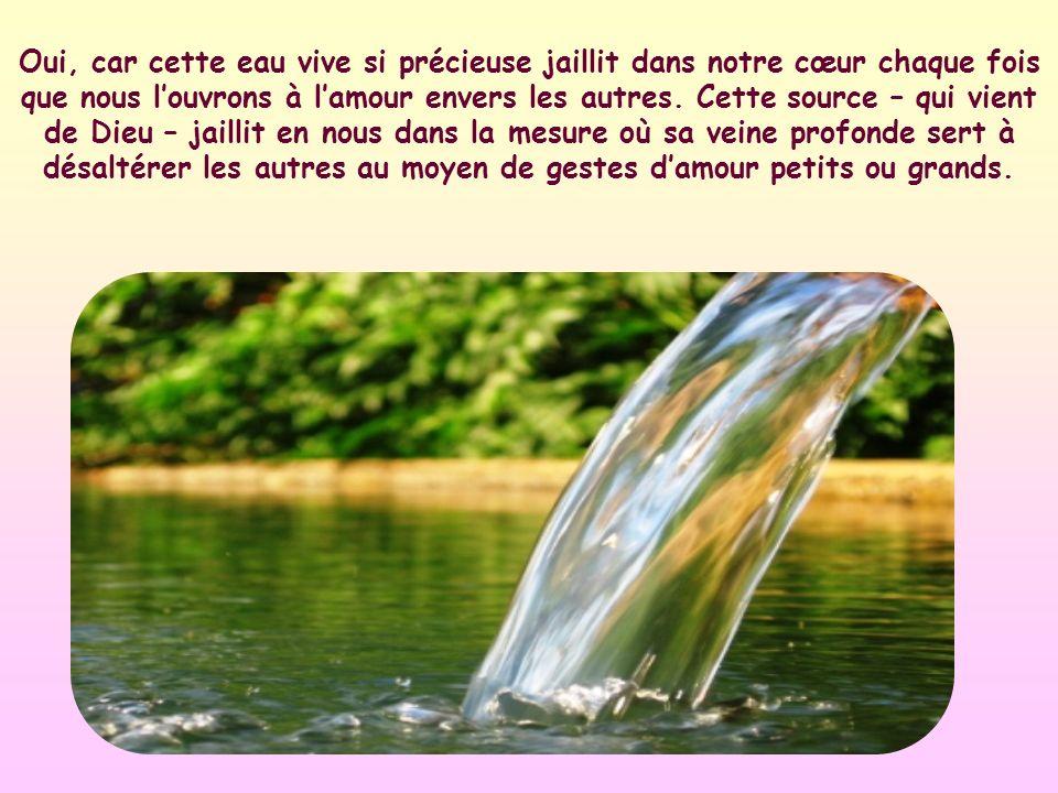 Chaque geste damour envers notre prochain est une gorgée de cette eau.