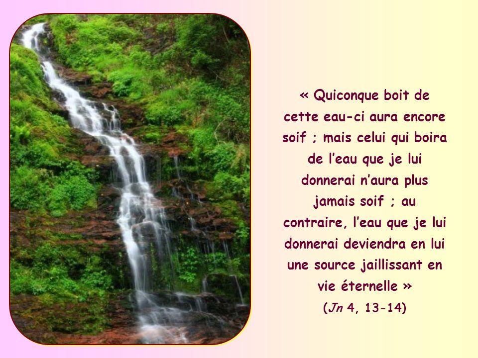 « Quiconque boit de cette eau-ci aura encore soif ; mais celui qui boira de leau que je lui donnerai naura plus jamais soif ; au contraire, leau que je lui donnerai deviendra en lui une source jaillissant en vie éternelle » (Jn 4, 13-14)