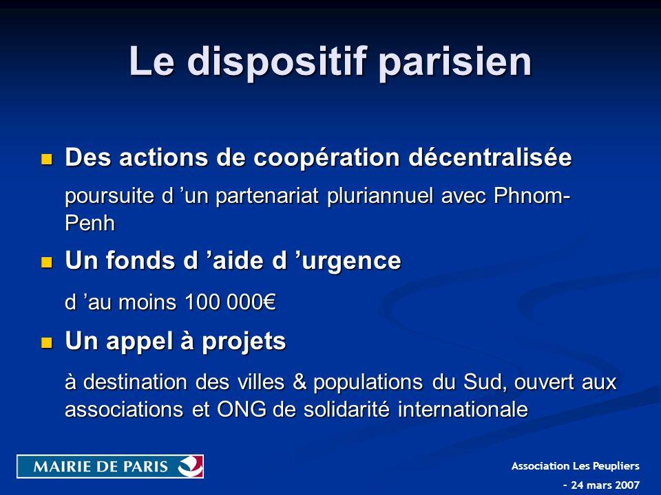 Le dispositif parisien Des actions de coopération décentralisée Des actions de coopération décentralisée poursuite d un partenariat pluriannuel avec P