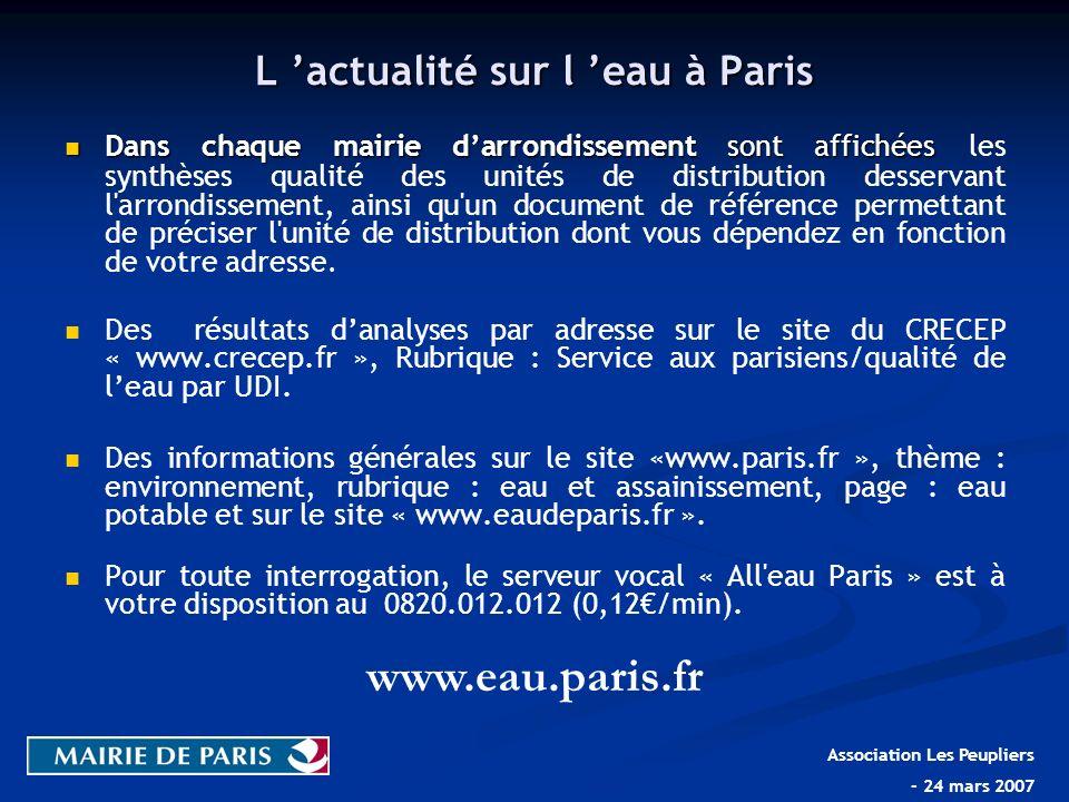 L actualité sur l eau à Paris Dans chaque mairie darrondissement sont affichées Dans chaque mairie darrondissement sont affichées les synthèses qualit