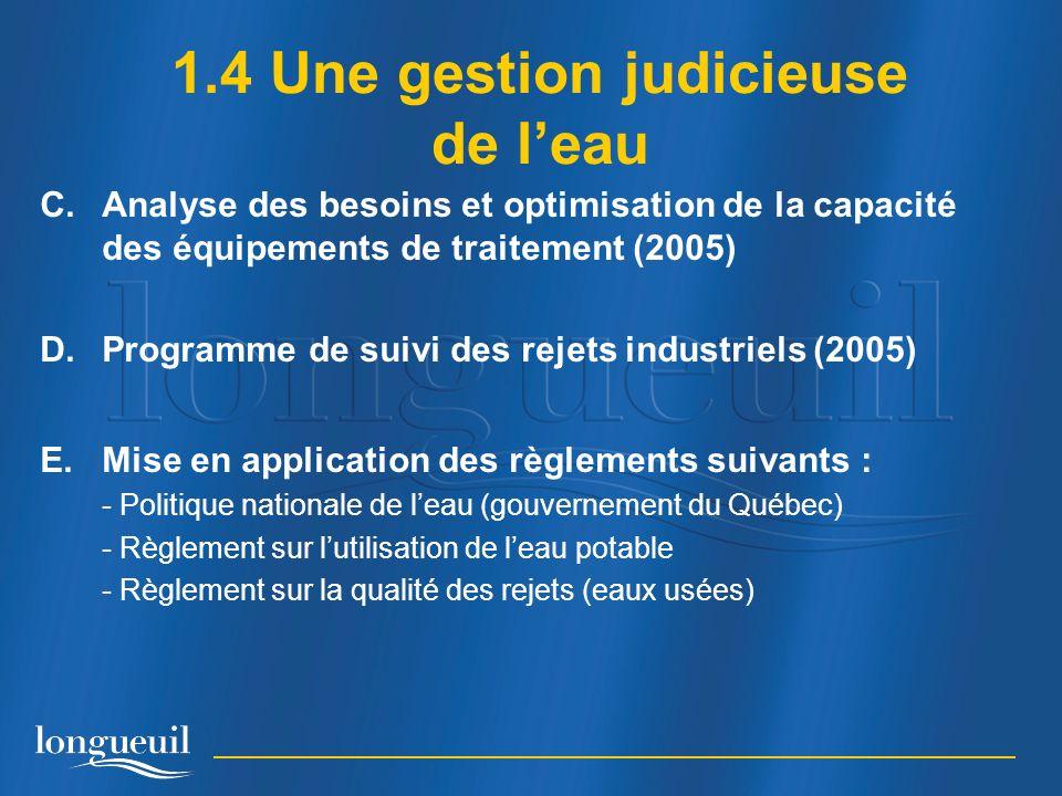 C.Analyse des besoins et optimisation de la capacité des équipements de traitement (2005) D.Programme de suivi des rejets industriels (2005) E.Mise en application des règlements suivants : - Politique nationale de leau (gouvernement du Québec) - Règlement sur lutilisation de leau potable - Règlement sur la qualité des rejets (eaux usées) 1.4 Une gestion judicieuse de leau