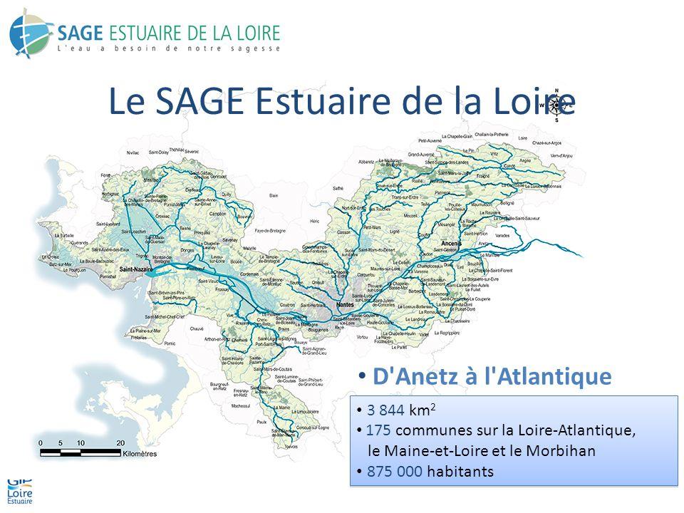 3 844 km 2 175 communes sur la Loire-Atlantique, le Maine-et-Loire et le Morbihan 875 000 habitants 3 844 km 2 175 communes sur la Loire-Atlantique, le Maine-et-Loire et le Morbihan 875 000 habitants Le SAGE Estuaire de la Loire D Anetz à l Atlantique