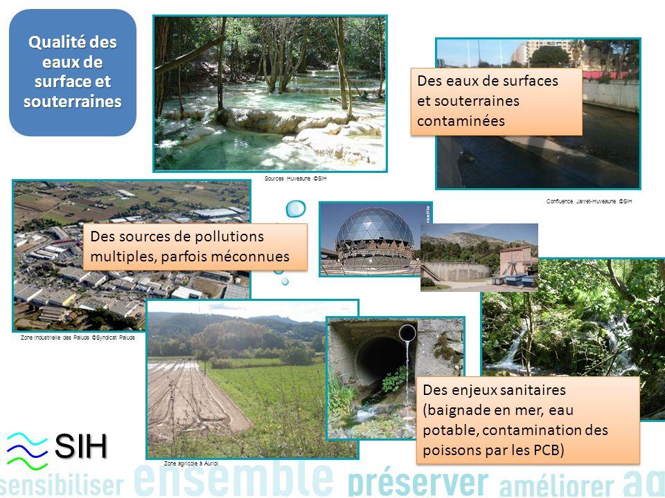 Qualité des eaux de surface et souterraines Zone industrielle des Paluds ©Syndicat Paluds Zone agricole à Auriol Encanaux à Auriol ©SIH Sources Huveau