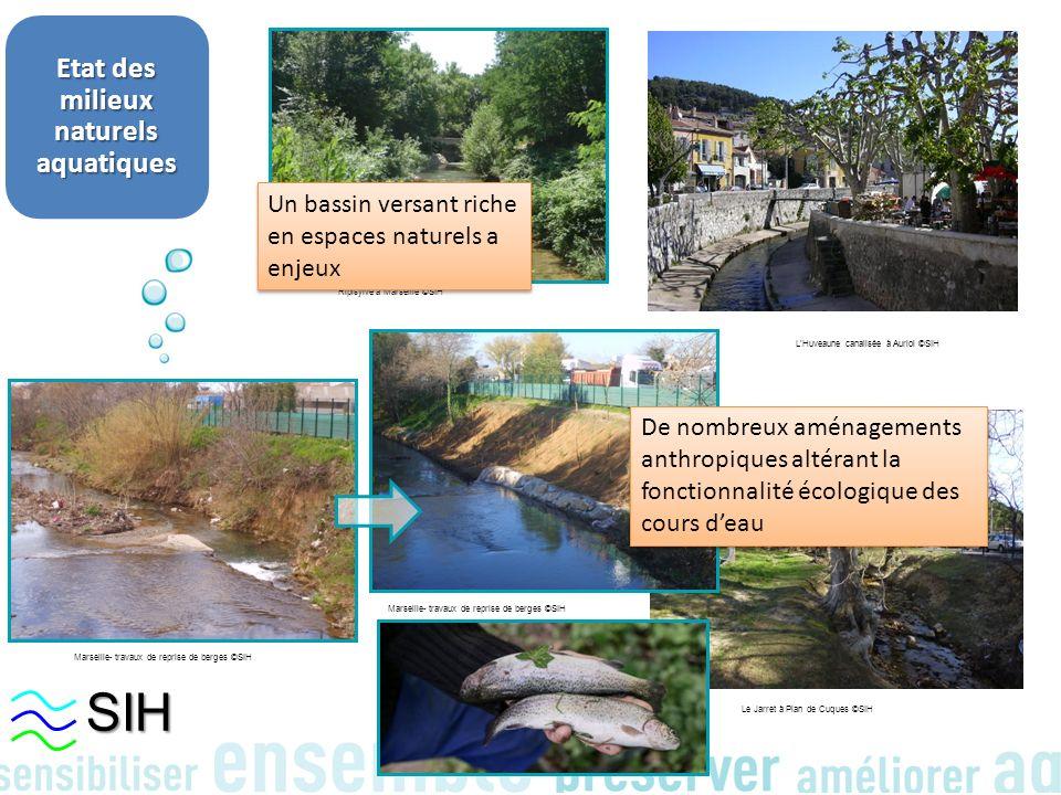 Etat des milieux naturels aquatiques Marseille- travaux de reprise de berges ©SIH Le Jarret à Plan de Cuques ©SIH LHuveaune canalisée à Auriol ©SIH Ri