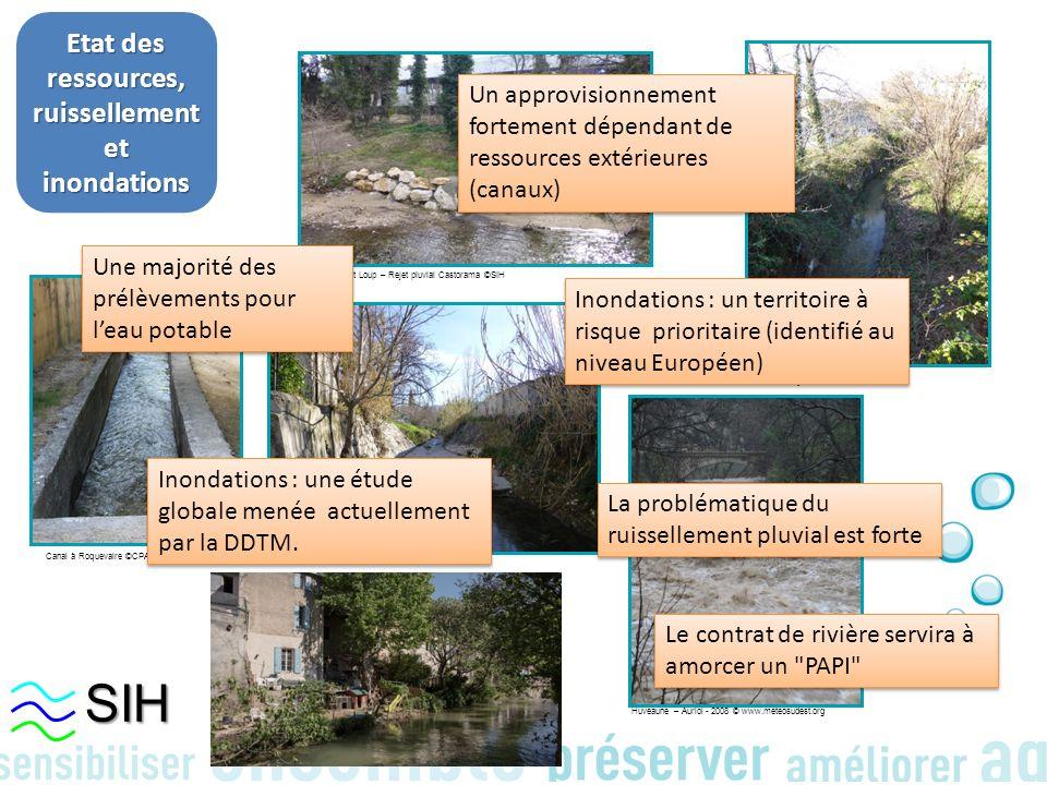 Etat des ressources, ruissellement et inondations Le Jarret à Plan de Cuques ©SIH Marseille St Loup – Rejet pluvial Castorama ©SIH Canal à Roquevaire