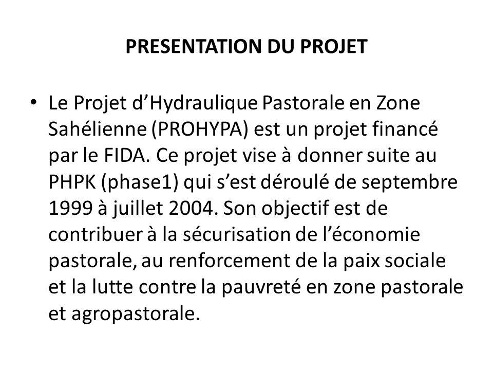 PRESENTATION DU PROJET Le Projet dHydraulique Pastorale en Zone Sahélienne (PROHYPA) est un projet financé par le FIDA.