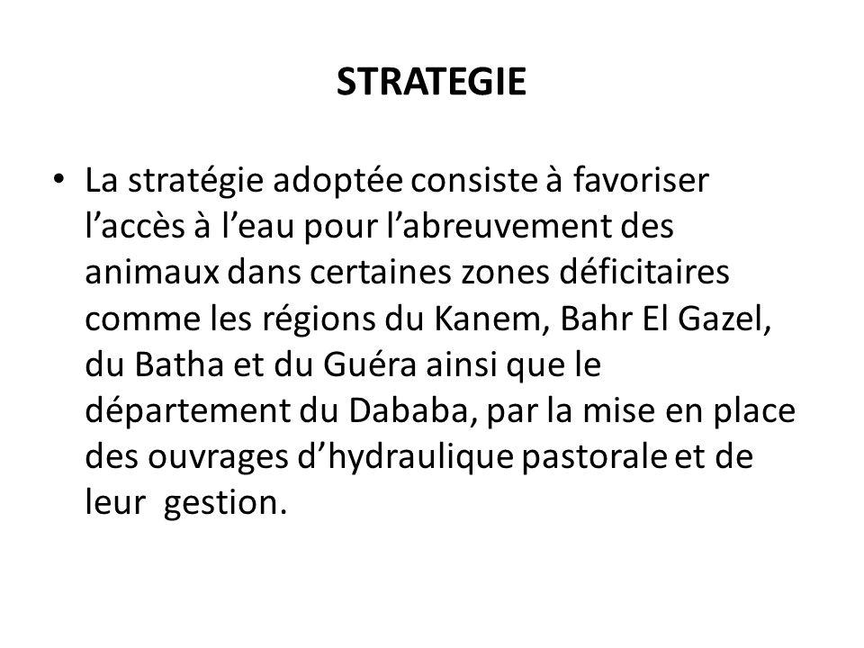 STRATEGIE La stratégie adoptée consiste à favoriser laccès à leau pour labreuvement des animaux dans certaines zones déficitaires comme les régions du Kanem, Bahr El Gazel, du Batha et du Guéra ainsi que le département du Dababa, par la mise en place des ouvrages dhydraulique pastorale et de leur gestion.