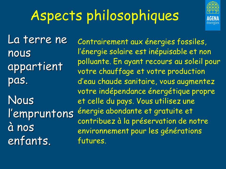 Aspects philosophiques La terre ne nous appartient pas. Nous lempruntons à nos enfants. Contrairement aux énergies fossiles, lénergie solaire est inép