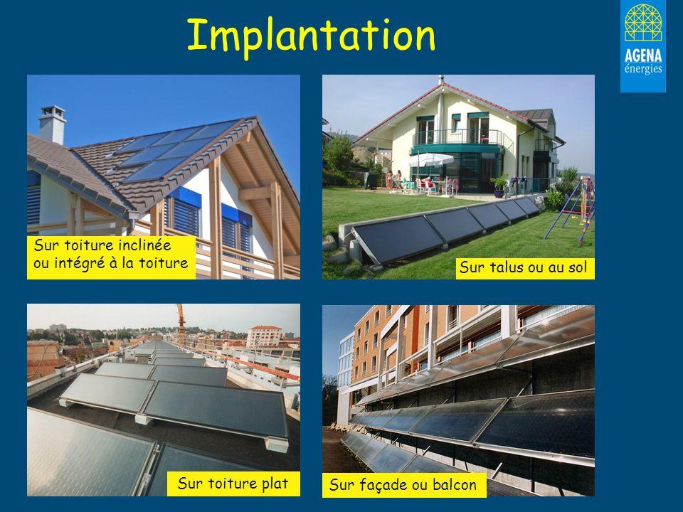 Implantation Sur toiture inclinée ou intégré à la toiture Sur talus ou au sol Sur toiture plat Sur façade ou balcon