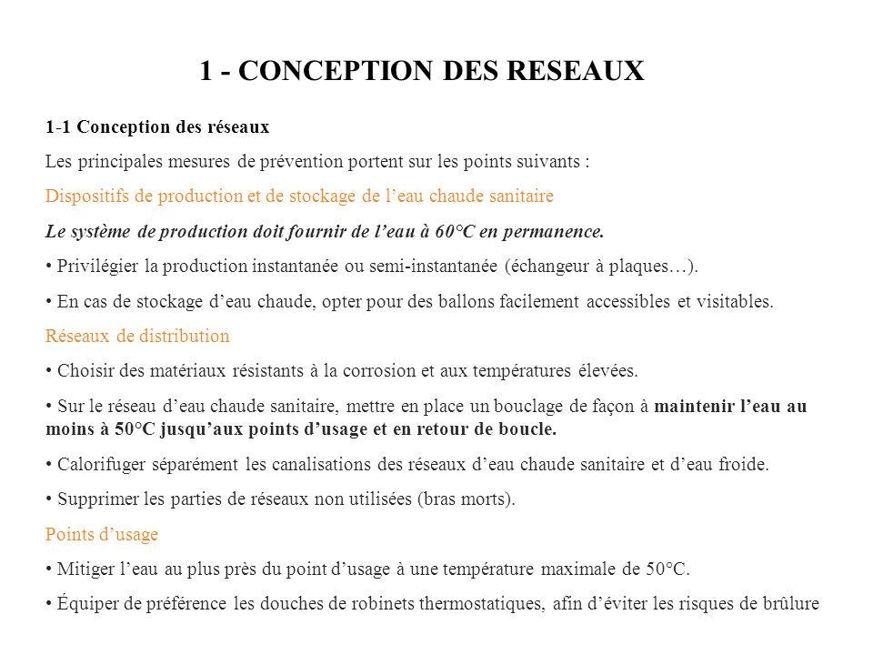 1 - CONCEPTION DES RESEAUX 1-1 Conception des réseaux Les principales mesures de prévention portent sur les points suivants : Dispositifs de production et de stockage de leau chaude sanitaire Le système de production doit fournir de leau à 60°C en permanence.