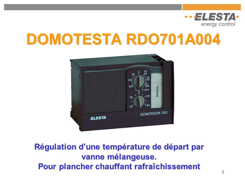 2 RDO701 - Fonctions de base (avec couvercle fermé) : Consigne externe avec potentiomètre RFB215A000 (La valeur indiqué donne la plage de la RFB215A000 utilisé ) Ici utiliser la 10 / 30 Réglage de la consigne de température deau W (ajustement de la consigne avec le commutateur 2) Ici utilisé 20°C COMMUTATEUR 2 Correction de +/- 20K de la consigne du commutateur 1 COMMUTATEUR 1 Sélecteur de programme : Standby O 20 60 100 10 / 30 10 / 70 0 / 100